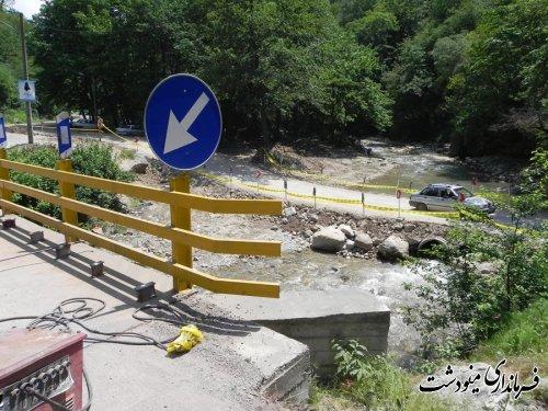 بازدید فرما ندار مینودشت از پل مسیر آق چشمه