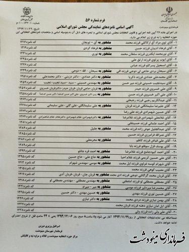اعلام نامزدهای انتخابات مجلس شورای اسلامی