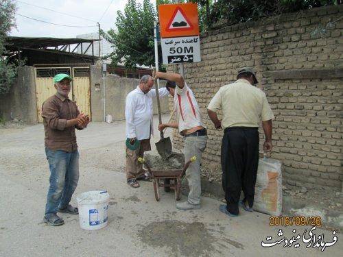 نصب 18 سطل زباله چرخدار در روستای ده حسن خان ار توابع بخش مرکزی شهرستان مینودشت