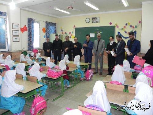 اهداء بسته های مداد رنگی و مسواک به دانش آموزان در مینودشت