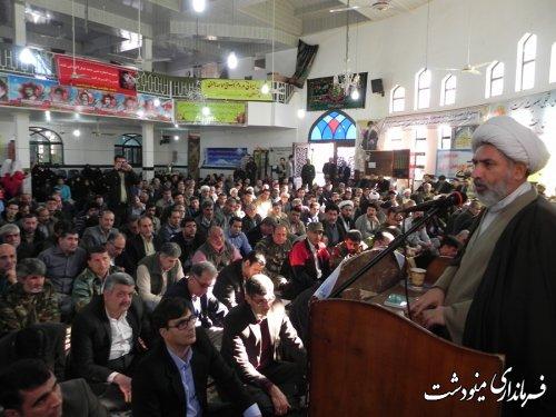 حجت السلام والمسلمین رعایتی نماینده ولی فقیه در سپاه نینوا  استان گلستان در مراسم نهم دی در مسجد جامع مینودشت گفت
