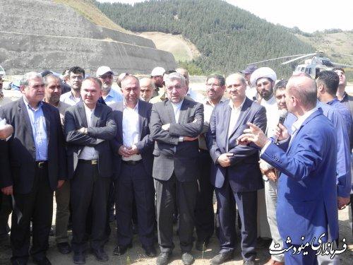 بازدید وزیر نیرو از پروژه سد نرماب شهرستان مینودشت