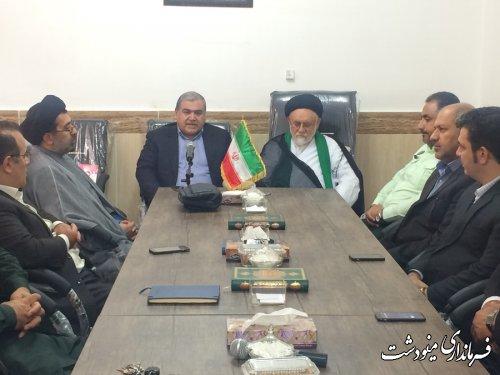 دیدار فرماندار و مدیران دستگاه های اجرایی شهرستان با امام جمعه شهر مینودشت