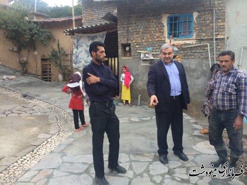 بازدید سر زده فرماندار مینودشت از روستای ورچشمه و زمین شاهی