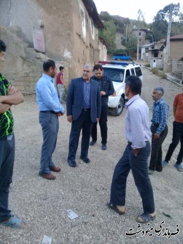 بازدید فرماندار مینودشت از دو روستای ریگ چشمه  بخش مرکزی