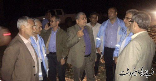 بازدید شبانه فرماندار شهرستان مینودشت از رانش محل قدیم روستای صفی آباد
