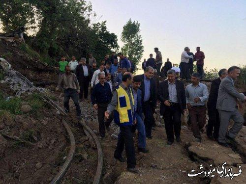بازدید سرپرست استانداری گلستان از خسارات ناشی از رانش زمین در شهرستان مینودشت