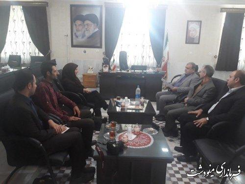 دیدار مدیرکل کانون پرورش فکری کودکان و نوجوانان استان با فرماندار مینودشت