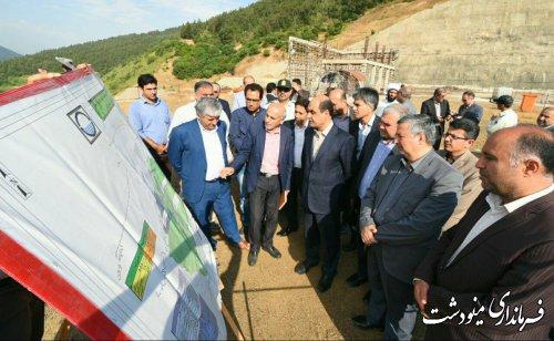 بازدید استاندار گلستان از پروژه سد نرمآب چهل چای مینودشت