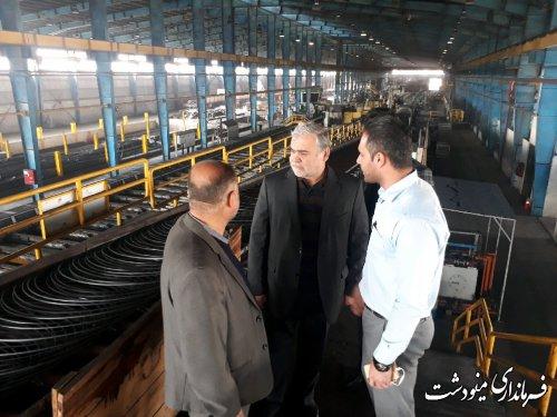 بازدید فرماندار مینودشت از کارخانه نورد فولاد گلستان