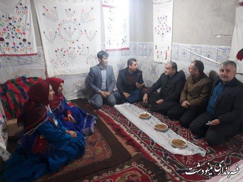 بازدید فرماندار از غرفه گردشگری و صنایع دستی شهرستان در جشنواره فرهنگ اقوام در گنبد