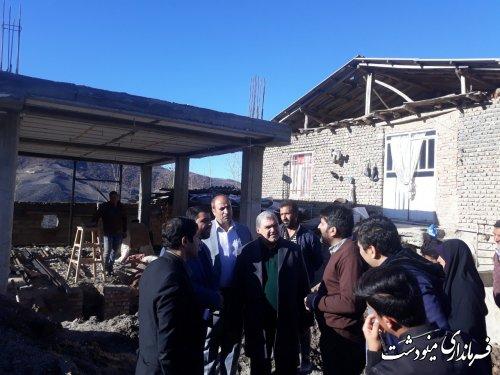بازدید فرماندار مینودشت از روند بازسازی در روستاهای قلعه قافه و سایر