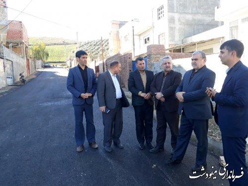 بازدید فرماندار مینودشت از پروژه بهسازی معابر روستای محمد آباد