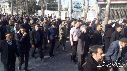 مردم مینودشت امروز در محکومیت عاملان شهادت سردار سلیمانی راهپیمایی کردند