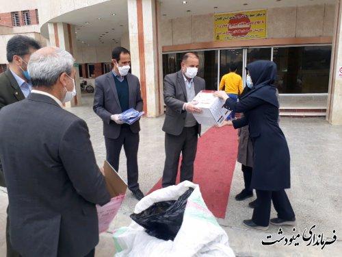 تحویل اقلام مصرفی کنترل کرونا به بیمارستان برکت فاطمه الزهرا (س) مینودشت