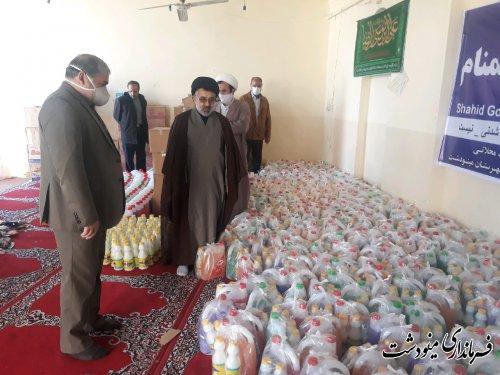 توزیع اقلام بهداشتی توسط طلاب حوزه علمیه امام صادق(ع) مینودشت