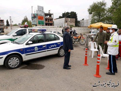 بازدید فرماندار از ایستگاههای کنترل ورود و خروج شهرستان مینودشت