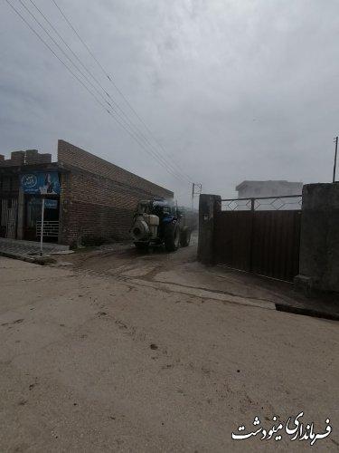 ضد عفونی اماكن و معابر عمومي روستاي بازگيرازتوابع بخش مركزي شهرستان مینودشت