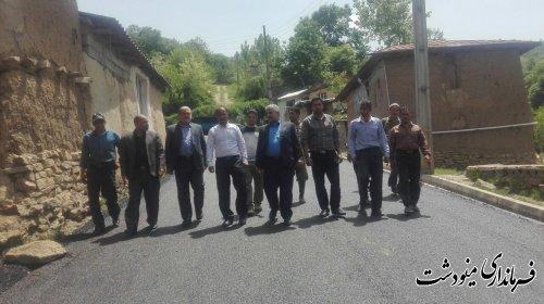 بازدید فرماندار از پروژه آسفالت معابر روستای ریگ چشمه پایین