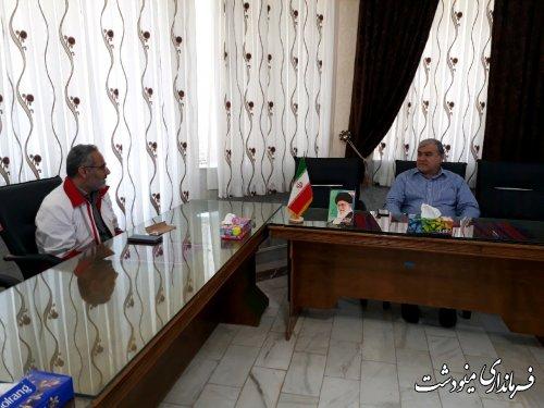 دیدار رئیس و پرسنل هلال احمر با فرماندار مینودشت