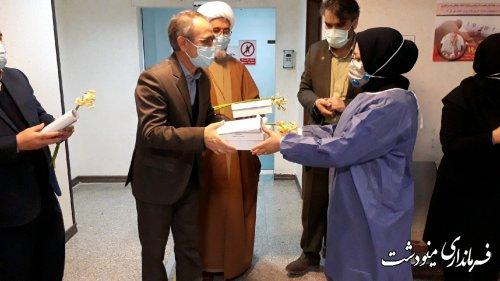 حضور فرماندار مینودشت جهت تبریک روز پرستار در بیمارستان برکت فاطمه الزهرا(ص)