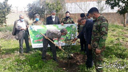 غرس درخت توسط فرماندار مینودشت به مناسبت هفته منابع طبیعی