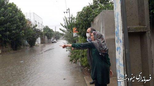 بازدید فرماندار مینودشت از مناطق آبگرفته شهرستان در پی بارش های اخیر